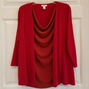 Jaclyn Smith/metallic red layered blouse